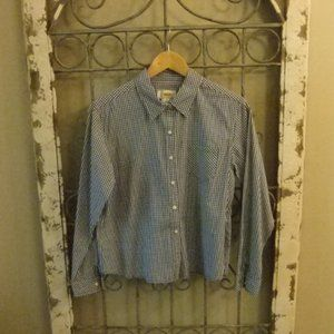 TALBOTS PETITES L/S WOMEN BLUE CHECK SHIRT- MEDIUM